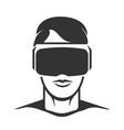 virtual reality man silhouette vector image
