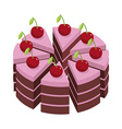 Cherry cake Pieces of holiday pie Birthday dessert vector image