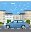 Blue comfortable sedan on road in city vector image