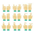Multitouch gesture hands icons set vector image
