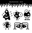 Silhouettes of cute doodle monsters-bacteria vector image vector image