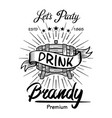 alcohol wooden barrels drinks signs brandy vector image