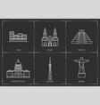 american landmarks line style vector image