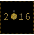 Happy New year 2016 Numbers and Christmas ball vector image