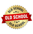 Old school round isolated gold badge vector image