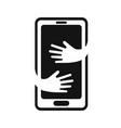 phone with hands hug logo design template hand vector image