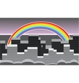 rainbow over the city vector image