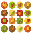 set of round flat icons with long shadow vector image