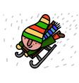 Winter child riding sleigh vector image