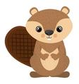 Isolated beaver cartoon design vector image