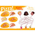 Kids Menu pizza with maze game A4 size Tem vector image
