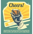 Hand with drink glass Retro party poster vector image