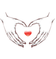 Woman hands with icon heart vector image