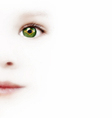 Childs Face And One Eye With The Brazilian Flag vector image
