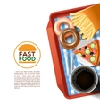 Fast food tray background poster vector image