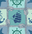 Nautical patchwork seamless pattern vector image