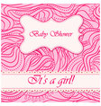 Baby-shower-wave-pattern-girl vector image vector image