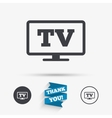Widescreen TV sign icon Television set symbol vector image