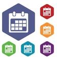 Calendar sheet icon hexagon set vector image