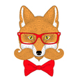 Cute red fox portrait face with french mustache vector image