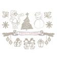 hand drawn christmas doodle set vector image