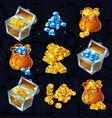 isometric treasure elements set vector image