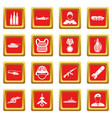war icons set red vector image