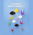 origami made colorful paper bird flying on sky vector image