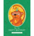 Cute Monkey Animal Cartoon Birthday card design vector image vector image