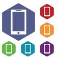 Tablet PC icon hexagon set vector image