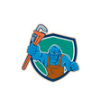 Angry Gorilla Plumber Monkey Wrench Shield Cartoon vector image