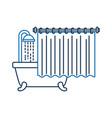 bathroom bathtub shower water curtain interior vector image