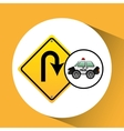 car police with u-turn road vector image