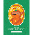 Cute Monkey Animal Cartoon Birthday card design vector image