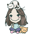 smile hikikomori cute girl with cats vector image
