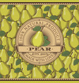 vintage pear label on seamless pattern vector image