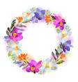 card with freesia flowers garland vector image vector image