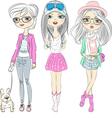 Set hipster beautiful fashion girls vector image