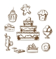 Sweet desserts icons with cake and pastry vector image