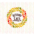 autumn foliage wreath poster seasonal sale label vector image