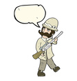 cartoon big game hunter with speech bubble vector image