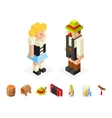 Polygon icons set oktoberfest isometric 3d man vector image
