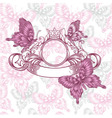 Vintage emblem with butterflies seamless pattern vector image