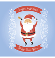 Santa Claus with bell for retro christmas card vector image