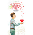 romantic watercolor greeting card with a young man vector image vector image
