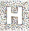 a group of people in of english alphabet letter h vector image
