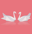 a pair of paper origami swans vector image