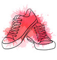 contour of sneakers with watercolo vector image