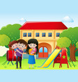 family in a park with house vector image