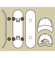 Set of blank skateboard and cap templates vector image